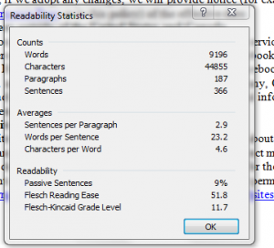 picture of readability statistics for facebook data use policy