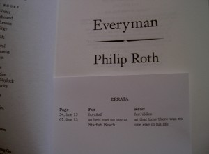 photo of Philip Roth errata book slip