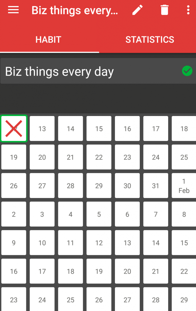 Screenshot of 7 Weeks app