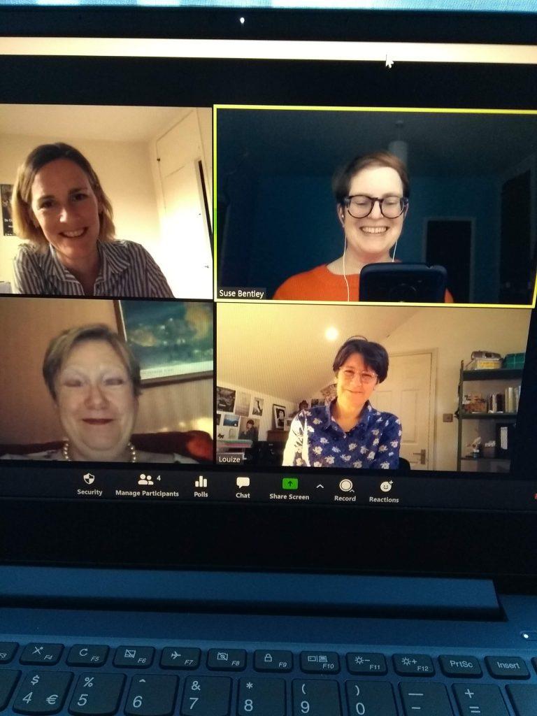 Photo of happy Scaredycat Workshop online participants in Zoom screen.